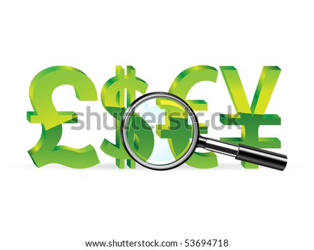 Magnifier and sign of pound, dollar, euro and yen. Abstract finance symbol - stock photo