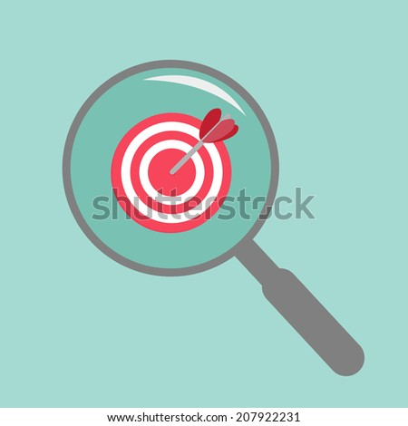 Magnifier and target. Flat design style.