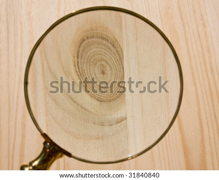 Magnifier and wood surface