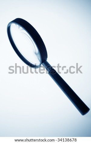 magnifier close up in blue tone