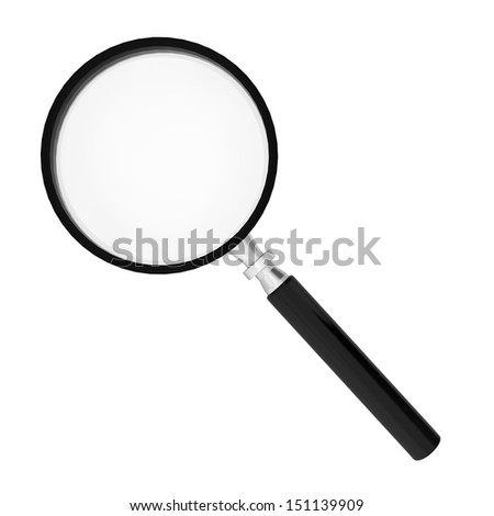 Magnifier. 3d illustration on white background  - stock photo