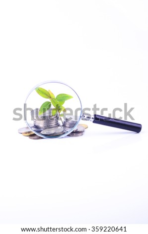 Magnifier glass and coin with plant on white background. Financial concept. - stock photo