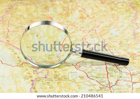 Magnifier on a road map