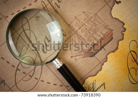 magnifier on a stylized map - stock photo