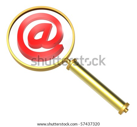 Magnifier with E-mail sign isolated on white. Computer generated 3D photo rendering.
