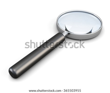 Magnifier with handle isolated on white background. 3d render image.