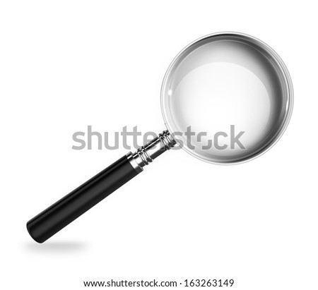 Magnify glass on white background. Clipping path included. 3d render - stock photo