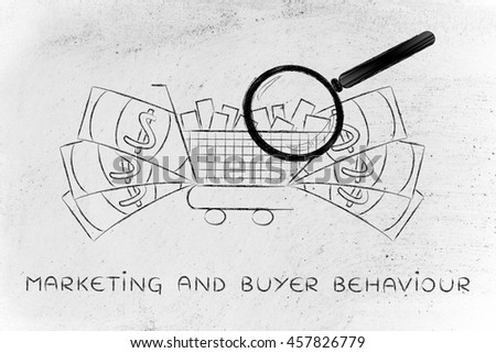 magnifying glass analyzing a shopping cart full of products with oversize cash surrounding it, concept of market segmentation and profitable items that sell well