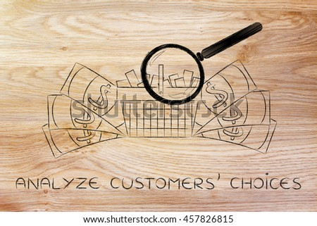 magnifying glass analyzing a shopping cart full of products with oversize cash surrounding it, concept of market segmentation and profitable items that sell well - stock photo
