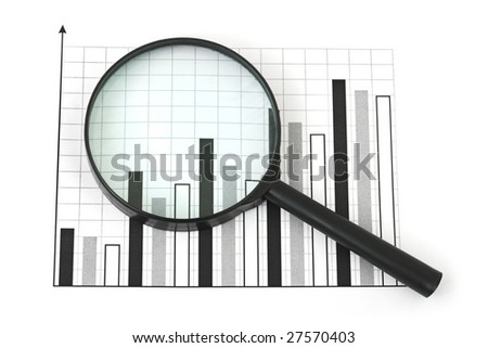 Magnifying glass and diagram isolated on white background - stock photo