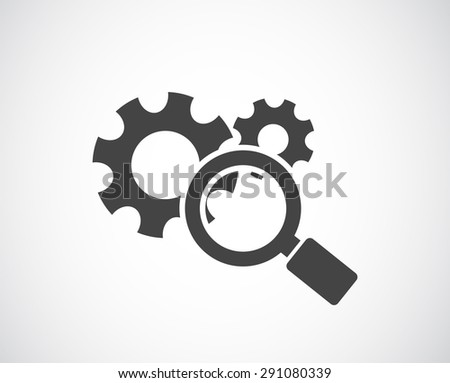 magnifying glass and gears icon - conceptual background - stock photo