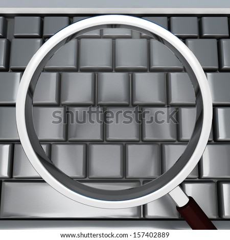 Magnifying Glass And Keyboard Showing Blank Copyspace Searching