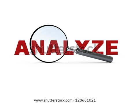 Magnifying glass and red analyze text, isolated on white background. - stock photo