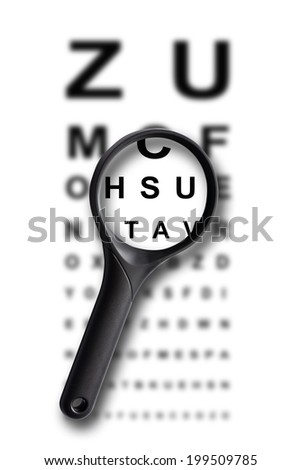 Magnifying glass and sight test