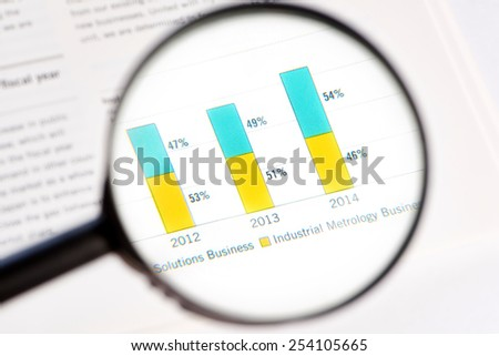 Magnifying glass and statistic isolated - stock photo
