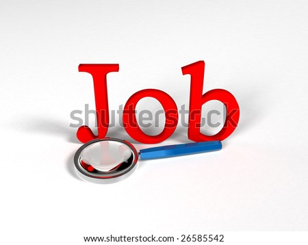 "Magnifying glass and text ""Job"""