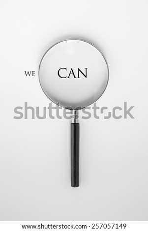 magnifying glass and yes - stock photo