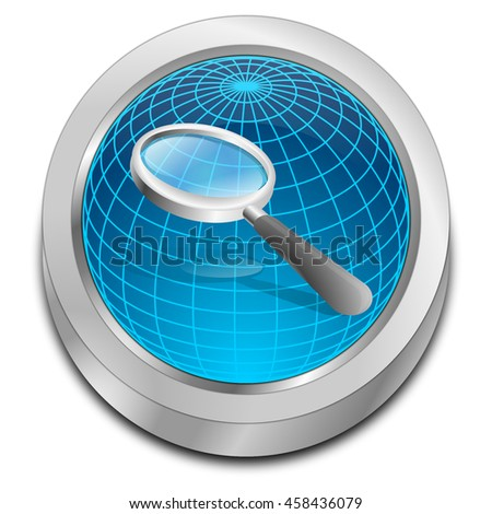 magnifying glass button - 3D illustration - stock photo