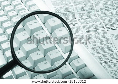 Magnifying glass, button, key - stock photo