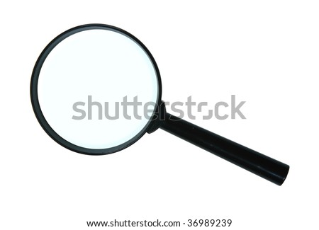 Magnifying glass. Close-up. Isolated on white background. - stock photo