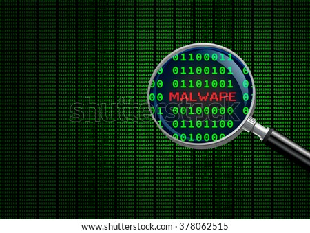 Magnifying glass enlarging malware in computer machine code  - stock photo