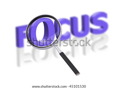 magnifying glass enlarging part of 3D word focus in blue with reflections blurred - stock photo