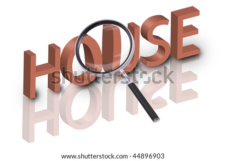 magnifying glass enlarging part of 3D word house in red with reflections - stock photo