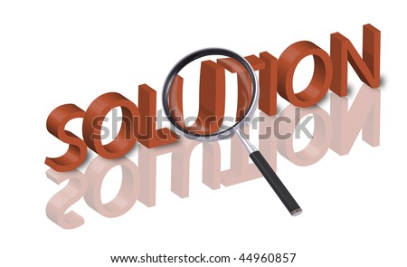 magnifying glass enlarging part of 3D word solution in red with reflections - stock photo