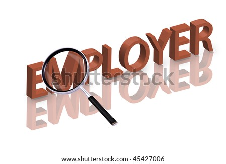 Magnifying glass enlarging part of red 3D word with reflection help wanted hiring now employer button icon job ad button - stock photo