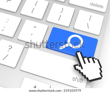 Magnifying Glass enter key with hand cursor. 3D rendering - stock photo