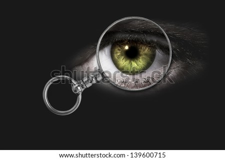 Magnifying glass, eye - stock photo