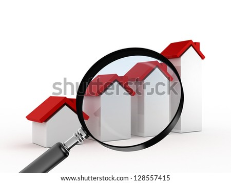 Magnifying glass focusing on real estate, graph bars of houses with red roof, searching or analyzing sales of houses, isolated on white background. - stock photo