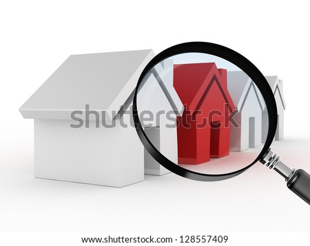 Magnifying glass focusing on real estate, red house standing of from the crowd with difference, searching or analyzing sales of houses, isolated on white background. - stock photo