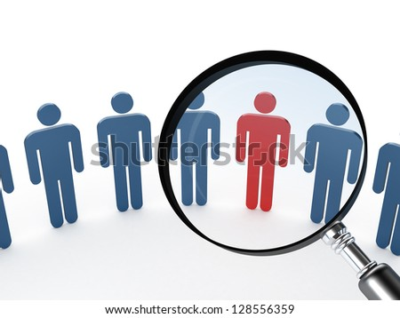 Magnifying glass focusing on red social man, standing out from the crowd for career, isolated on white background.