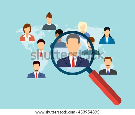 magnifying glass for choosing the right person on word map for international best position. recruitment and job search concept. illustration in flat design Raster version - stock photo