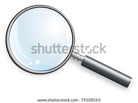 Magnifying glass for scientific research. Laboratory glassware. - stock photo