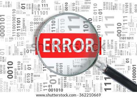 Magnifying glass found error in binary code. - stock photo