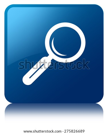 Magnifying glass icon blue square button - stock photo
