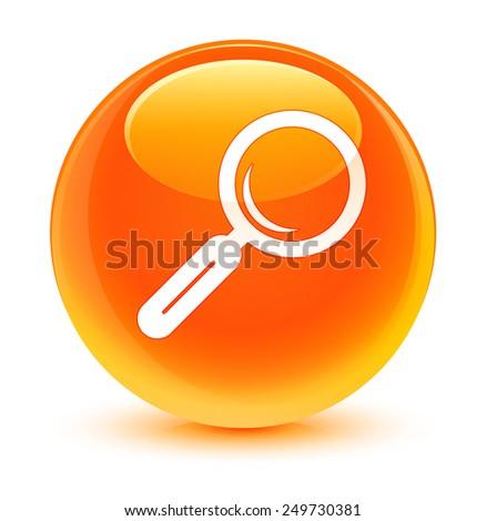 Magnifying glass icon glassy orange button - stock photo