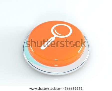 Magnifying glass icon glassy orange button, 3d illustration - stock photo