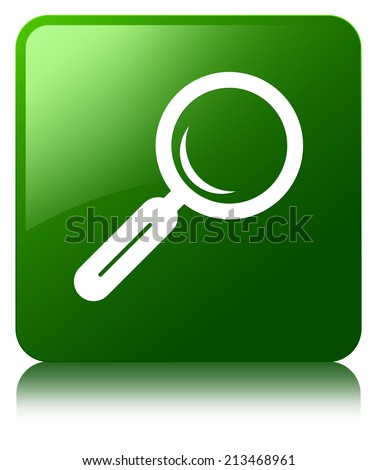Magnifying glass icon glossy green reflected square button - stock photo
