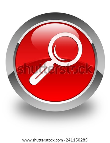 Magnifying glass icon glossy red round button - stock photo