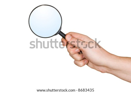 Magnifying glass in hand, isolated on white background