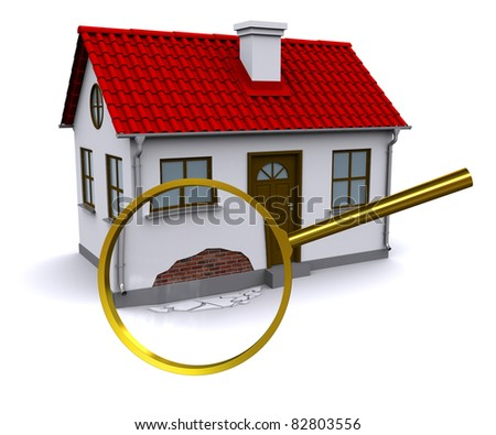Magnifying glass increases the damage on the wall 3d home - stock photo