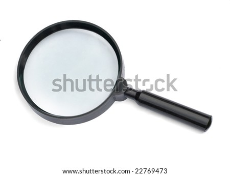 magnifying glass isllated on white background(Whit Clippiing path) - stock photo