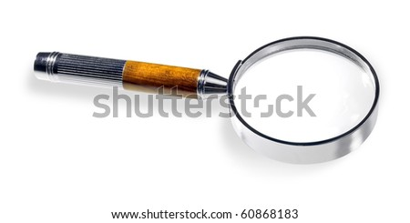Magnifying glass isolated on white background (clipping with path). - stock photo