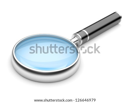 Magnifying Glass, Isolated On White Background. 3d Illustration - stock photo