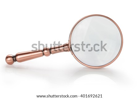 Magnifying glass isolated on white background. This has clipping path. - stock photo
