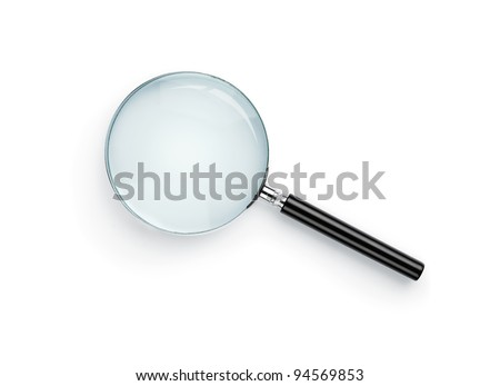 Magnifying glass isolated on white background with clipping path for the glass