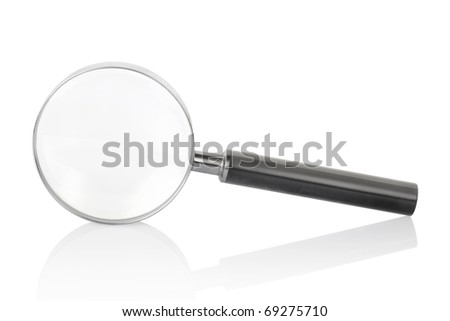 Magnifying glass isolated on white background with shadow reflection, clipping path included - stock photo